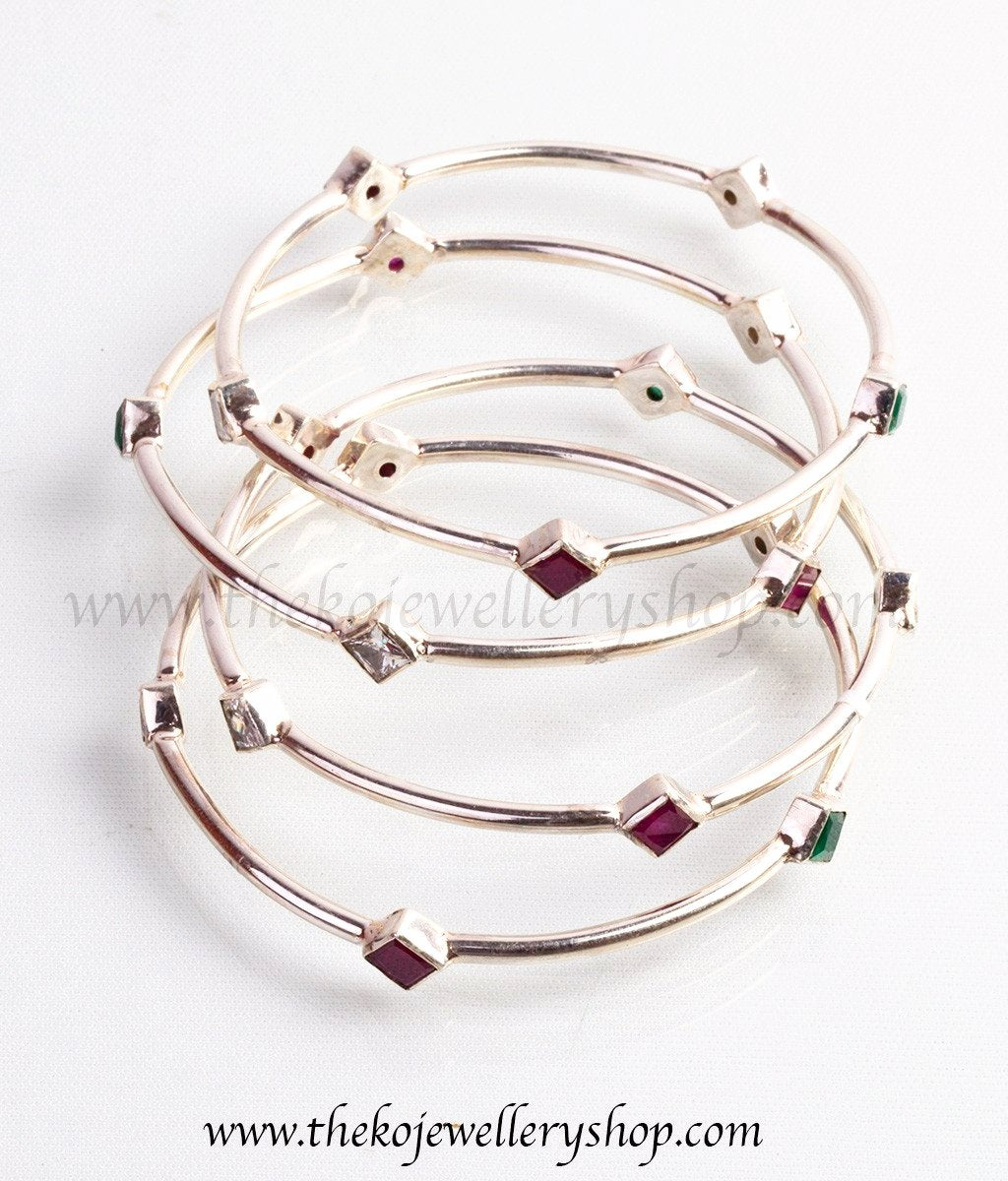precious bangle stones buy pink semi of size at set online bangles silver jewellery