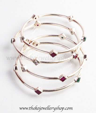 925 sterling silver diamond shapes on bangles for women