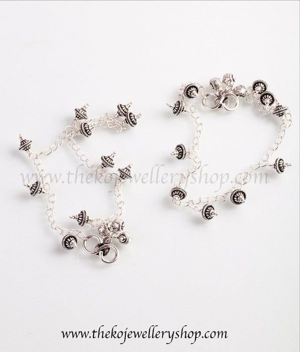 pure silver anklets with tiny tinkling silver balls shop online