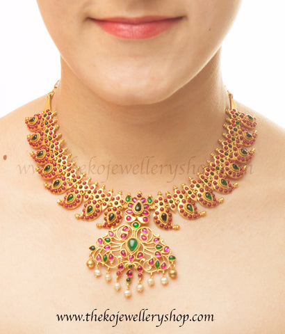 paisley motif silver gold dipped necklace bridal wear