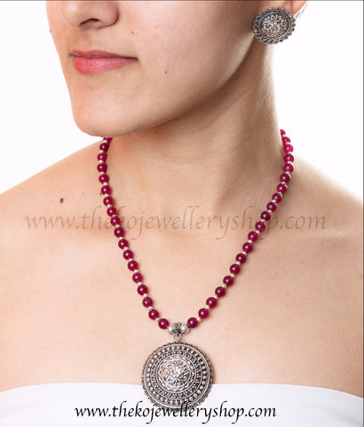 Pink Onyx beads Silver Necklace all India shopping