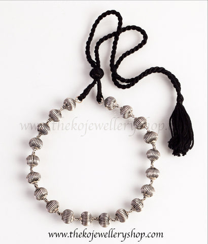 temple jewellery silver beads small necklace shop online.