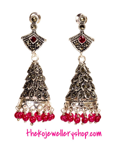 KO silver jhumka cone shaped with Swiss Marcasite and Onyx, indian earrings buy online