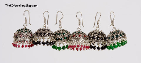 The Kadambari Silver Jhumka