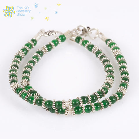 Beautiful kids anklets green beads sale online