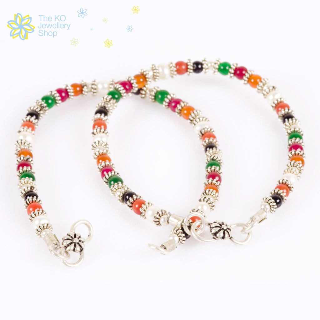 colour anklets collection gemstone products ko colourful anklet multi powdered mg jewellery kids india the collections coral silver online