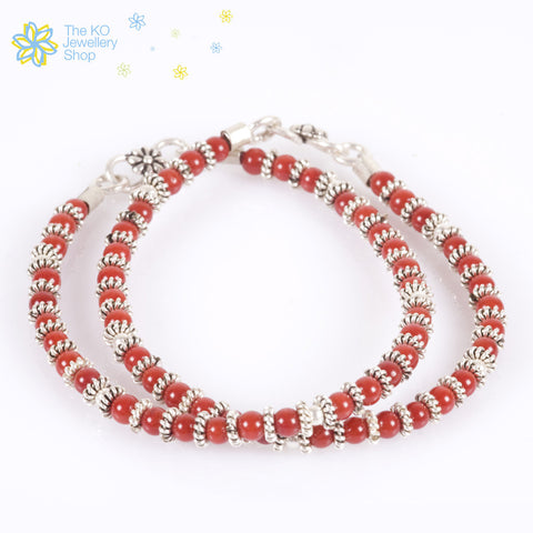 red beads silver kids anklet most popular