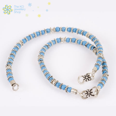 lovely Turquoise silver beads handmade anklets for kids