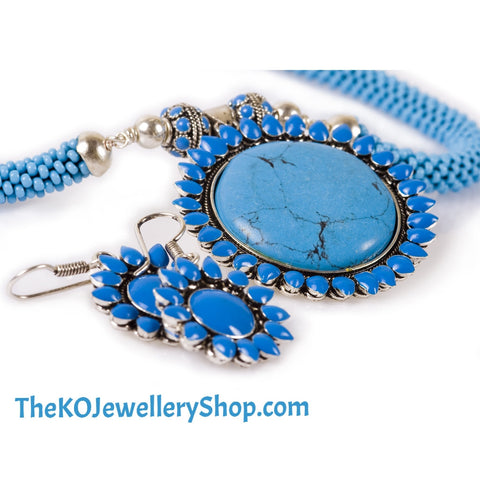 The Silver Blue Flower Necklace set