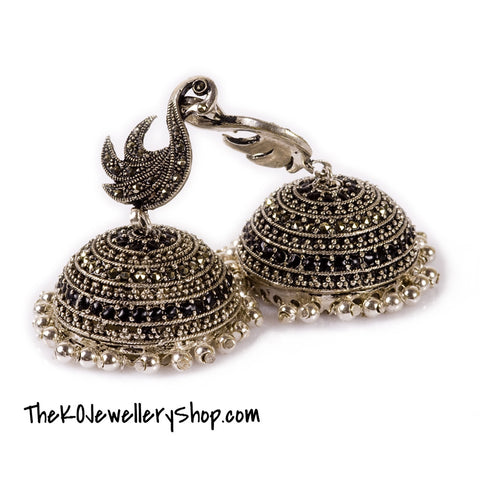 The Swan Silver Jhumka - KO Jewellery