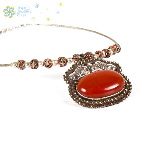 The Red Lion Silver Necklace