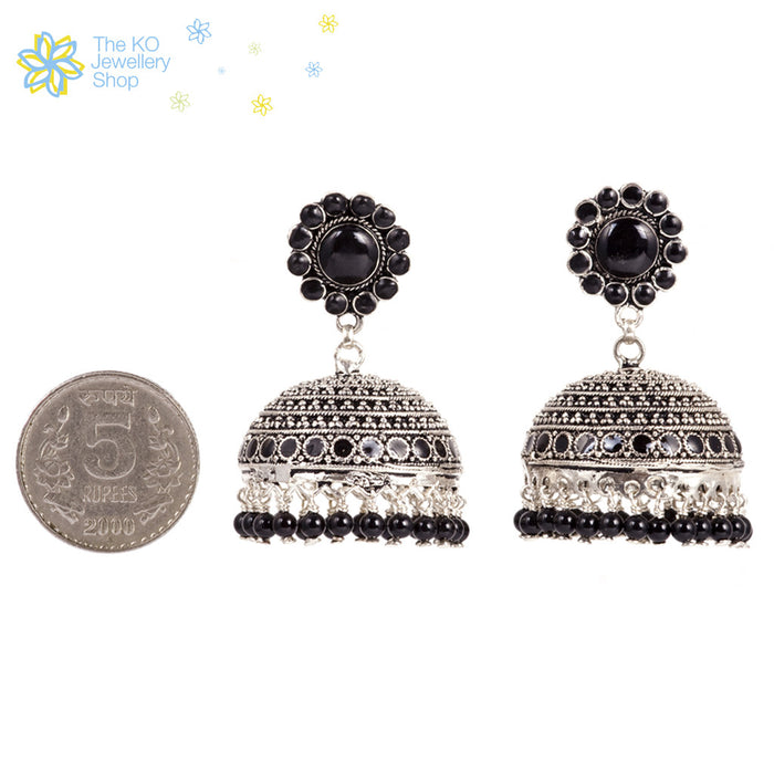 The Black Silver Jhumka - KO Jewellery