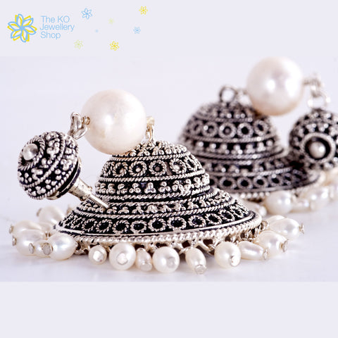 The Silver Pearl Jhumka-Big - KO Jewellery