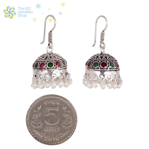 The Katyayani Silver Jhumka - KO Jewellery