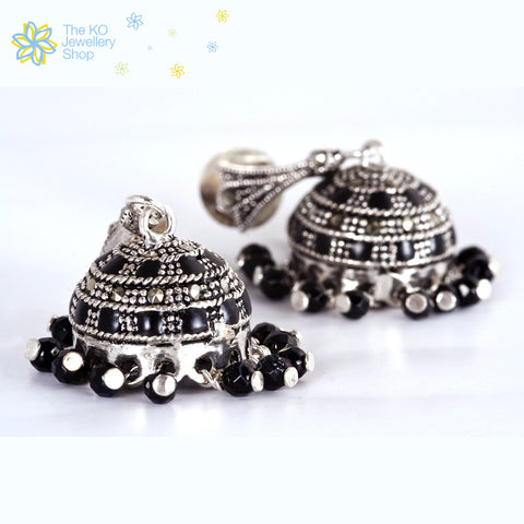 Online shopping pure silver black jhumka for women