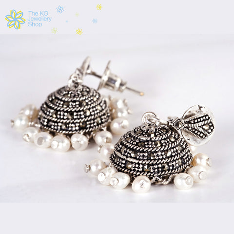 The Sparkle Silver Marcasite Jhumka - KO Jewellery