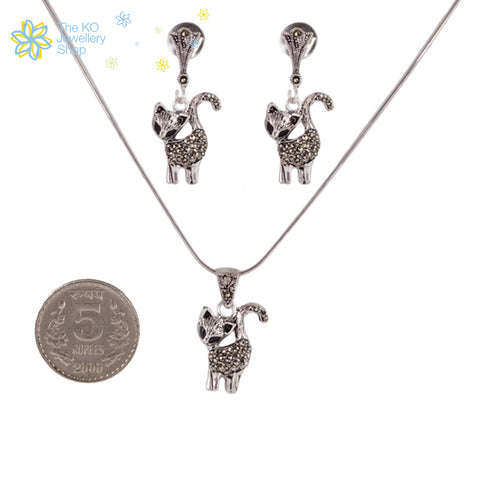 The Cool Cat Pendant Set - KO Jewellery
