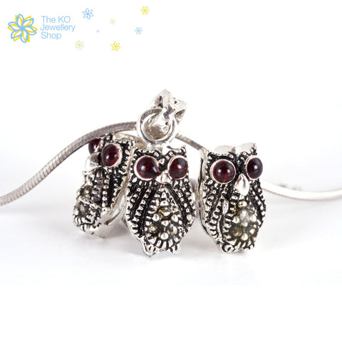The Silver Baby-Owl Pendent Set - KO Jewellery