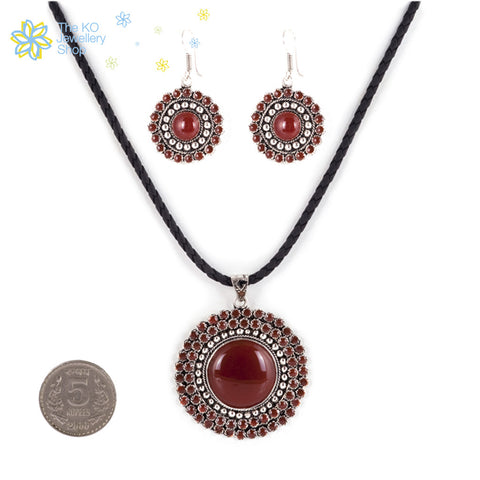 The Ananya Pendant Set in Maroon - KO Jewellery