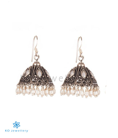 The Maya Silver Jhumka (Pearl/Oxidised)