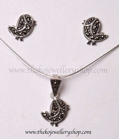Online shopping pure silver twetty pendant set