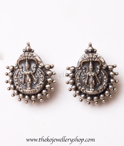 The Kamakshi Silver Earrings(Oxidised)