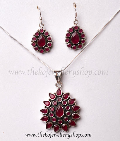 Hand crafted silver pendant set shop online