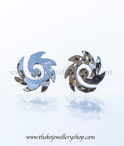 unique shaped silver ear studs shop online