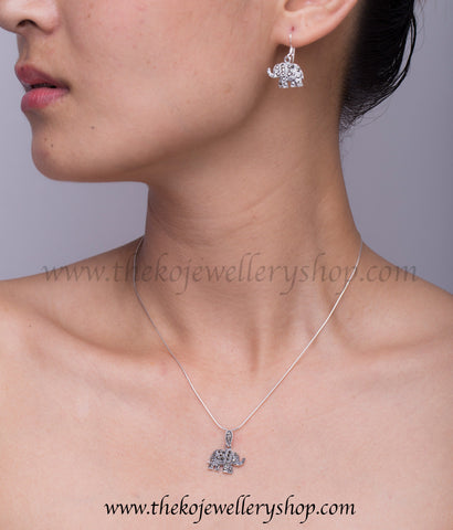 Buy online hand crafted silver elephant pendant set