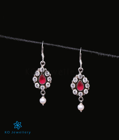 The Piali Earrings (Red/Pearl)