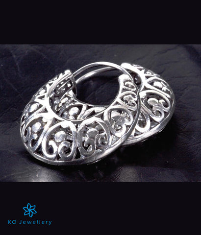 The Ornate Silver Hoop Earrings - KO Jewellery