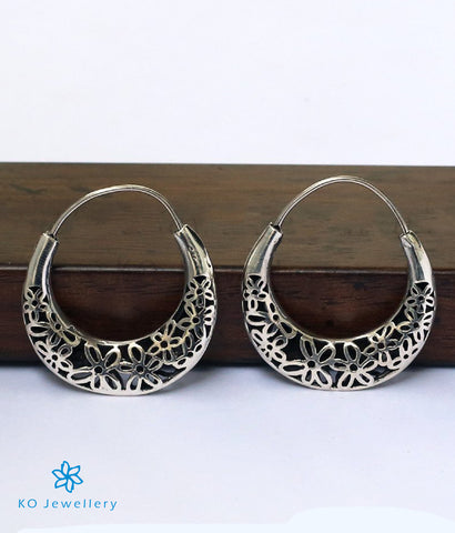 The Floral Silver Hoops