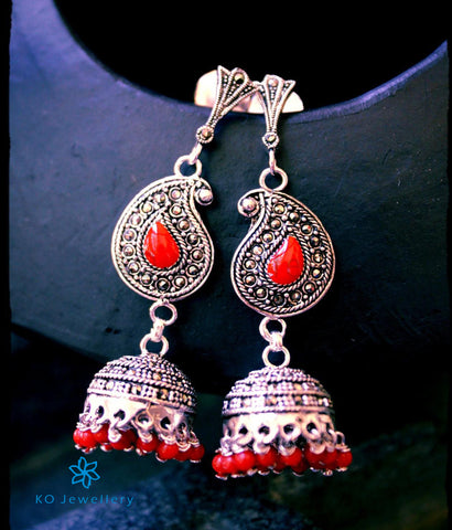 The Madhulika Red Silver Jhumka