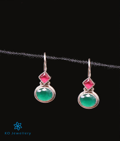 The Pahal Silver Gemstone Earrings-Red/Green