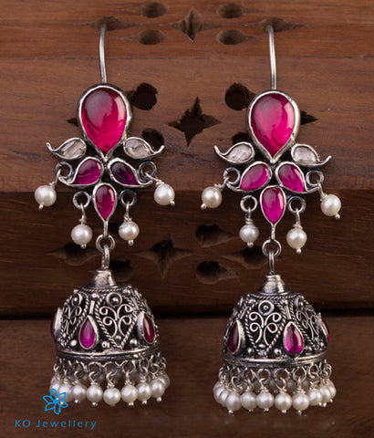 The Mrinalini Silver Jhumka (Oxidised/Hook)
