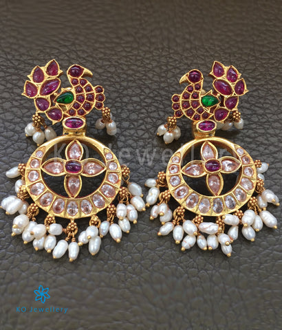Gold plated peacock motif silver earrings online