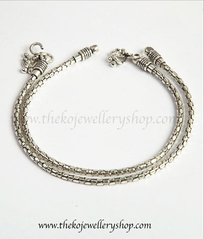 Handcrafted sterling silver oxidised anklets shop online