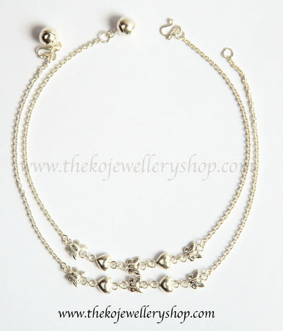 Cute hearts and butterflies silver anklets shop online