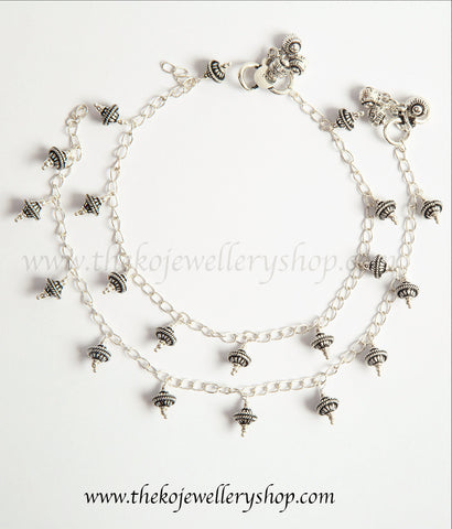 everyday wear pure silver oxidised anklets buy online