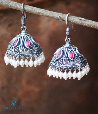 The Maya Silver Jhumka (Red)