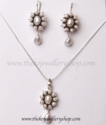 925 sterling silver pendant set for women