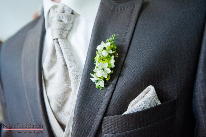 Buttonhole Green Fingers - Modern Multiple flower Buttonhole (Boutonniere) - Best of the Bunch Florist Wellington