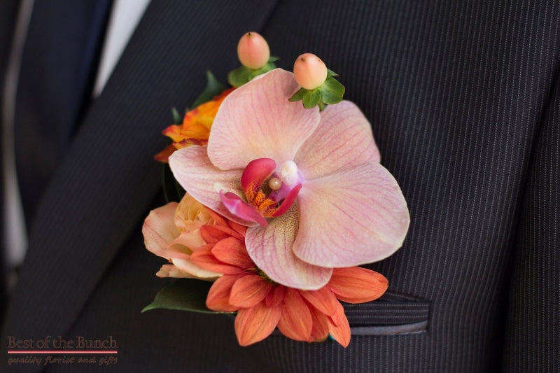 Buttonhole Hot House - Multiple flower Buttonhole (Boutonniere) - Best of the Bunch Florist Wellington