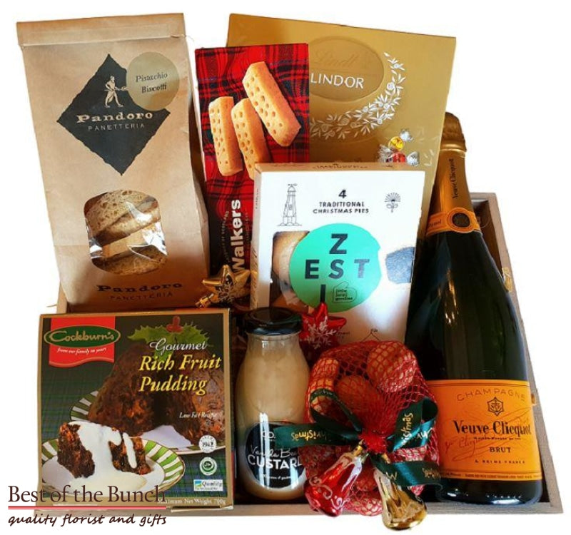 Christmas Grande Gift Basket Puddings Mince Pies & Traditional Treats with Wine or Drinks - Best of the Bunch Florist Wellington