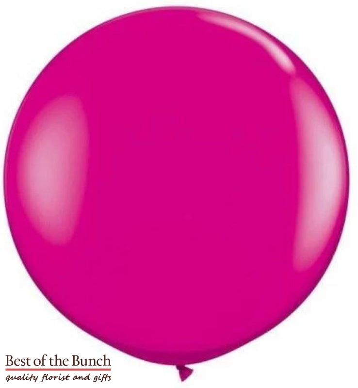 "Dark Hot Pink Round Latex Giant XXL Extra Large Helium Balloon 60cm (24"") OR 90cm (36"") - Best of the Bunch Florist Wellington"