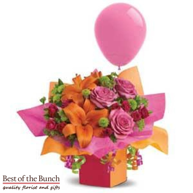 Flower Box Bouquet Box of Wishes with Balloon - Best of the Bunch Florist Wellington