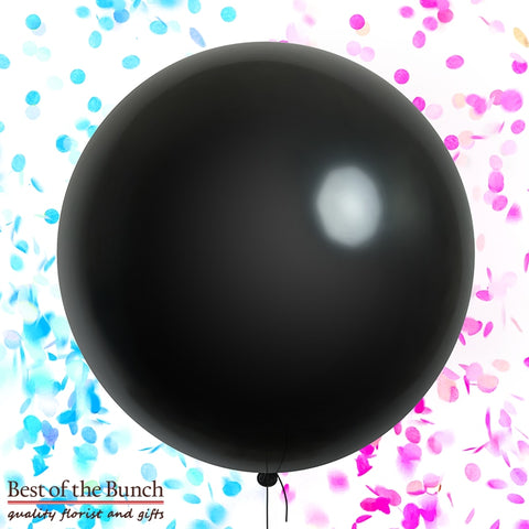 "Gender Reveal Giant XXL Extra Large Confetti Filled Helium Balloon - Black Round Latex 60cm (24"") OR 90cm (36"") - Best of the Bunch Florist Wellington"