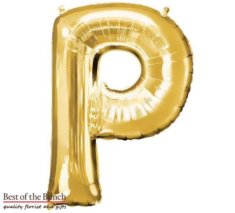 "Giant XXL Extra Large Alphabet Letter P Gold Foil Helium Balloon 86cm (34"") - Best of the Bunch Florist Wellington"