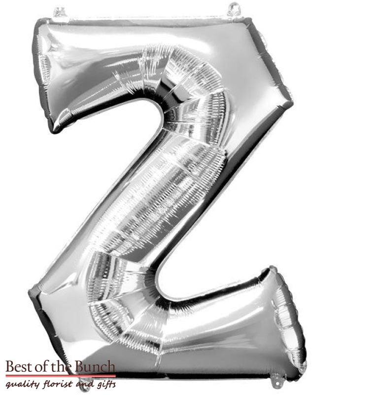 "Giant XXL Extra Large Alphabet Letter Z Silver Foil Helium Balloon 86cm (34"") - Best of the Bunch Florist Wellington"