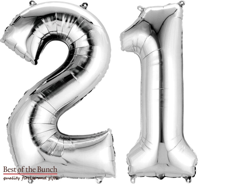 "Giant XXL Extra Large Number 21 Silver Foil Helium Balloon 86cm (34"") - Best of the Bunch Florist Wellington"